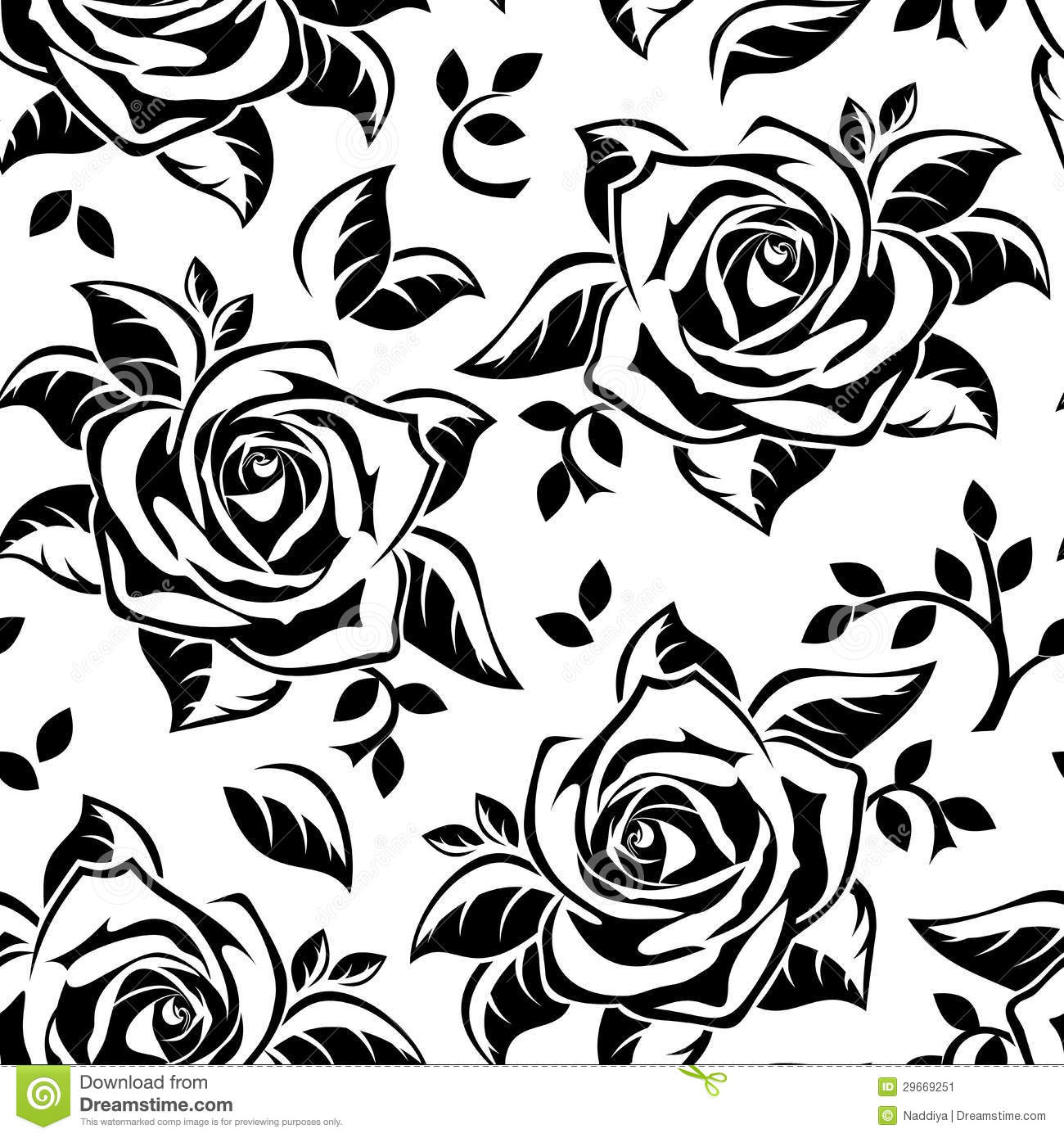 Vector Sseamless Pattern With Roses Silhouettes Stock