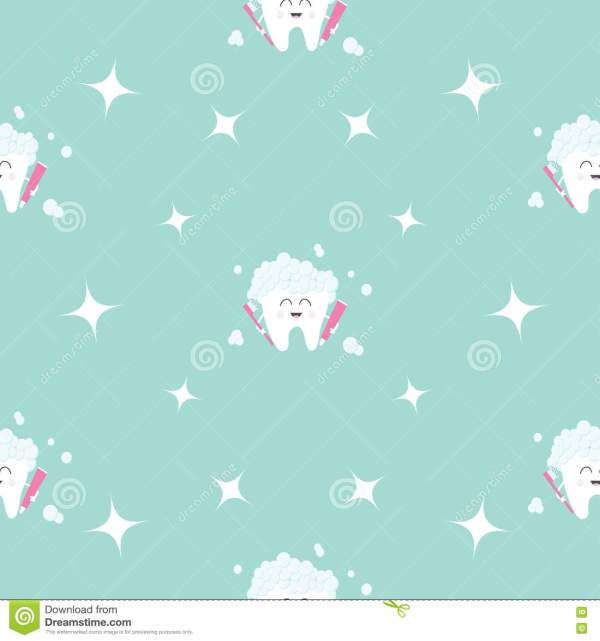 Seamless Pattern Brush Paste Tooth Health Sparkle Star