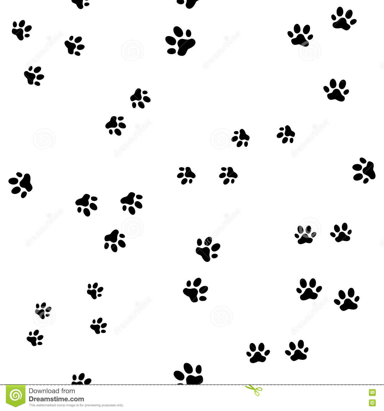 Animal Footprints Black And White Seamless Pattern Cartoon