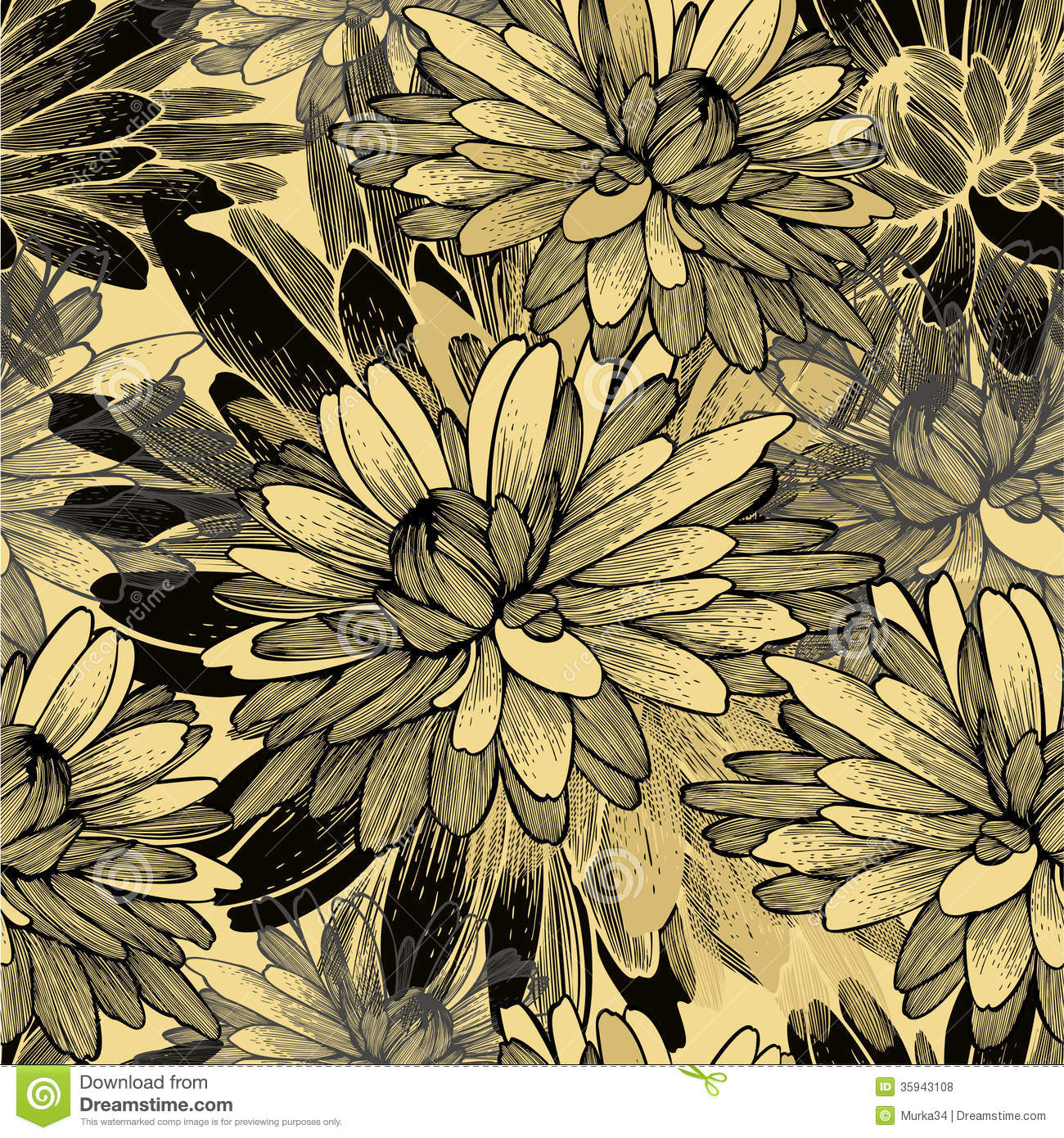 Fall Leaf Pattern Wallpaper Seamless Pattern With Chrysanthemum Flowers Vecto Royalty