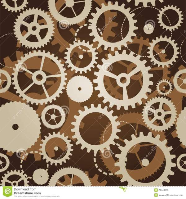 Seamless Pattern With Cogs And Gears Stock Illustration