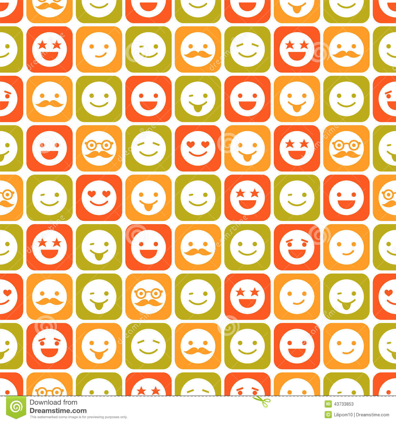Seamless Pattern Of Color Smile Different Emotions Stock