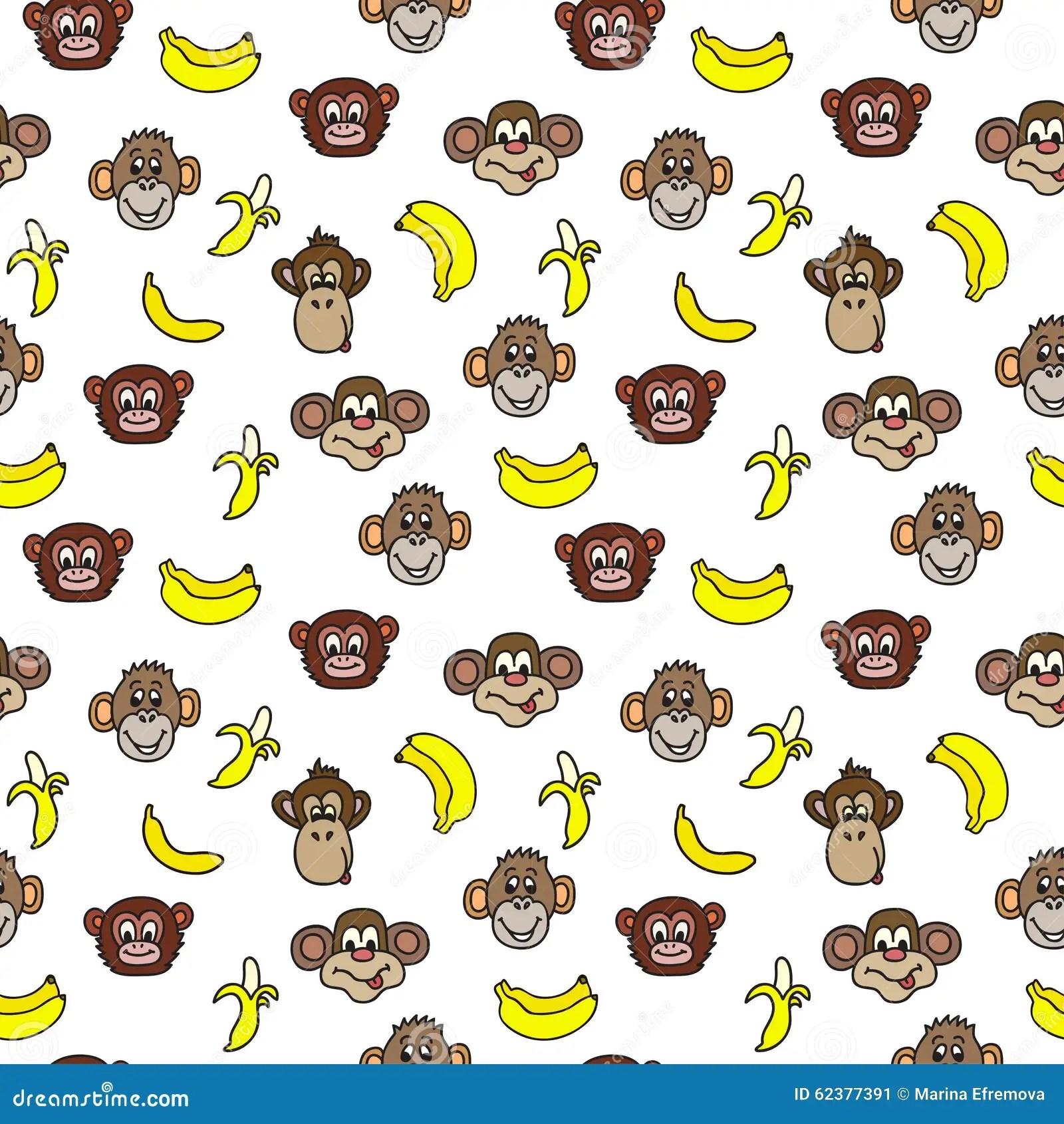 Monkeys And Bananas Cute Wallpaper Seamless Pattern With Cute Faces Of Monkeys And Bananas
