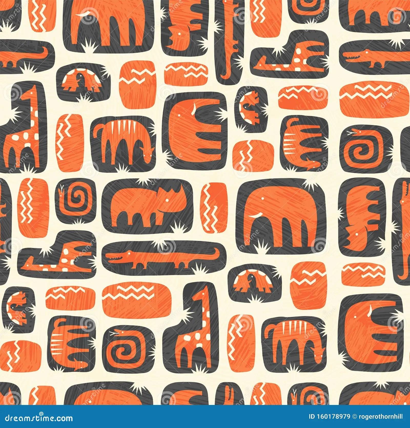 Seamless Pattern Of Cute Stylized Jungle Animals Stock
