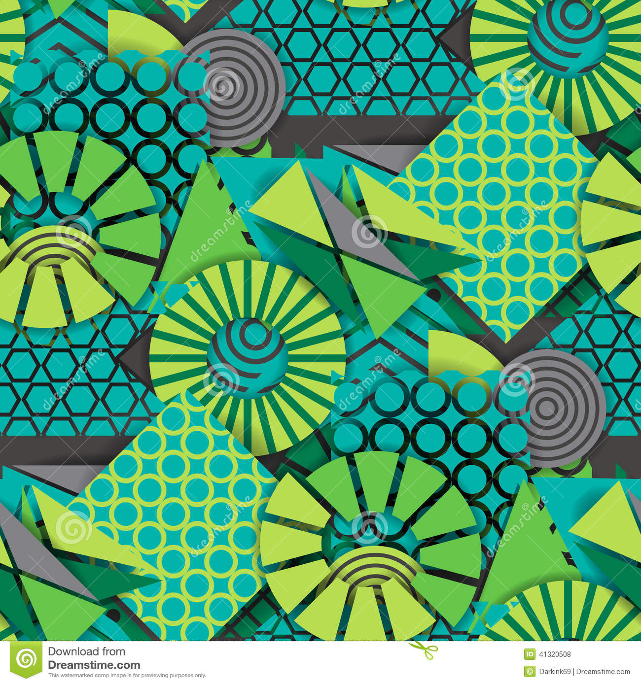 Seamless Pattern Of Green Geometric Shapes Stock Vector