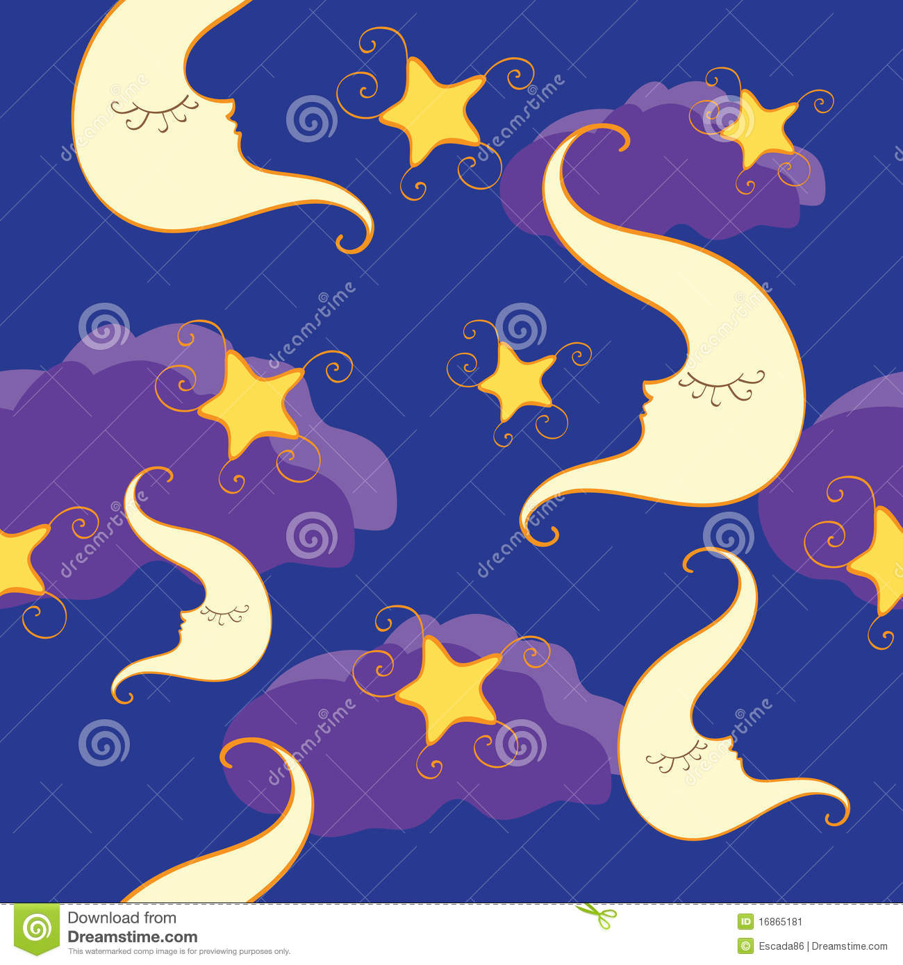 Seamless Pattern With Half Moon And Star Stock Vector