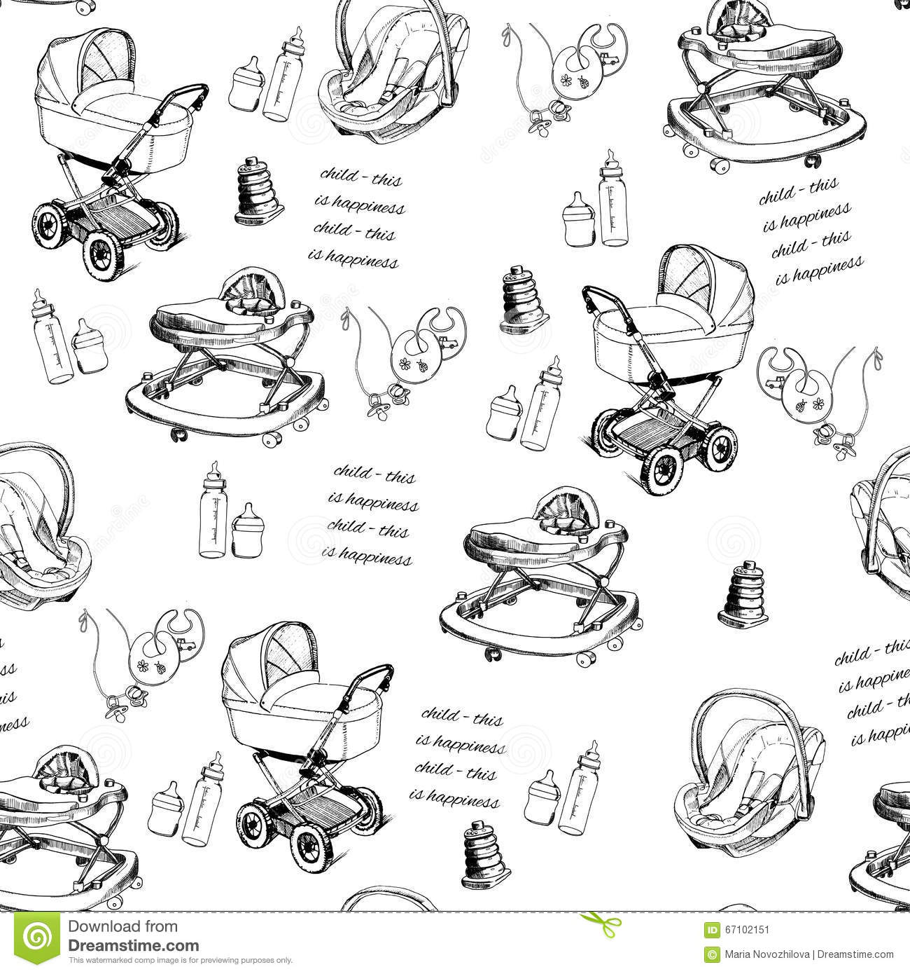 Seamless Pattern Hand Drawn Baby Pram, Baby Walker, Bib