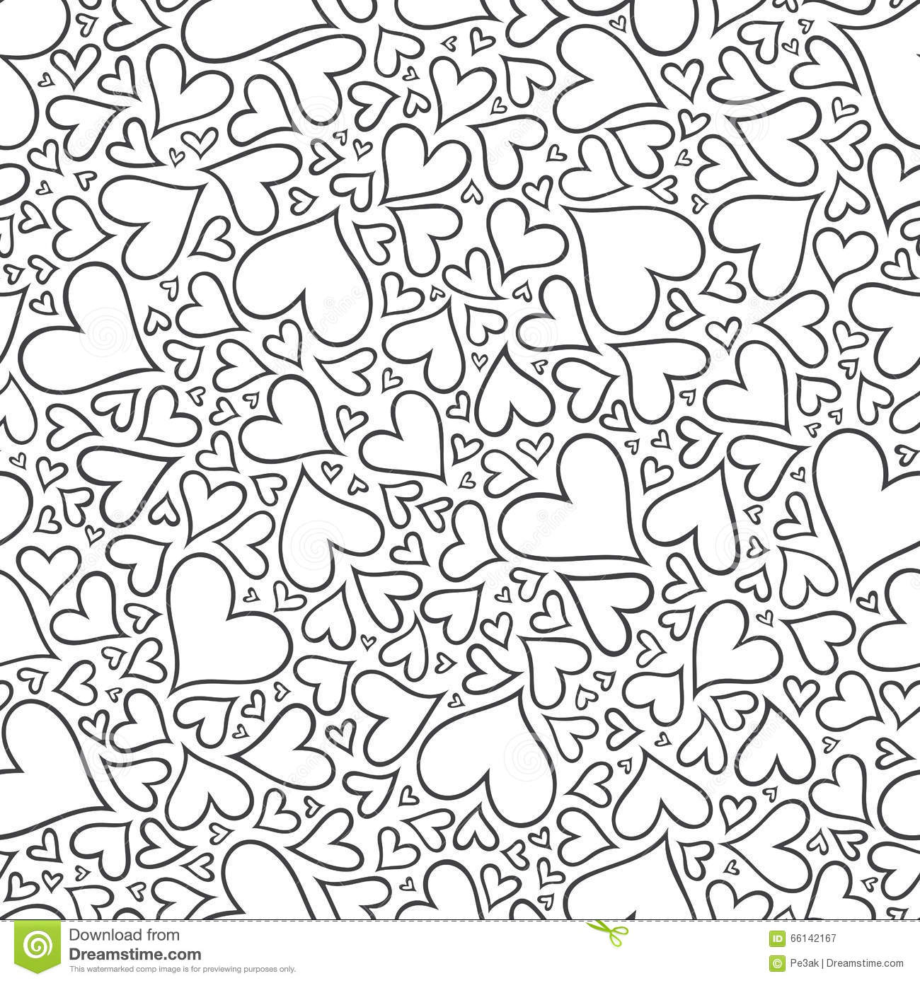 Seamless Pattern With Hand Drawn Monochrome Hearts In
