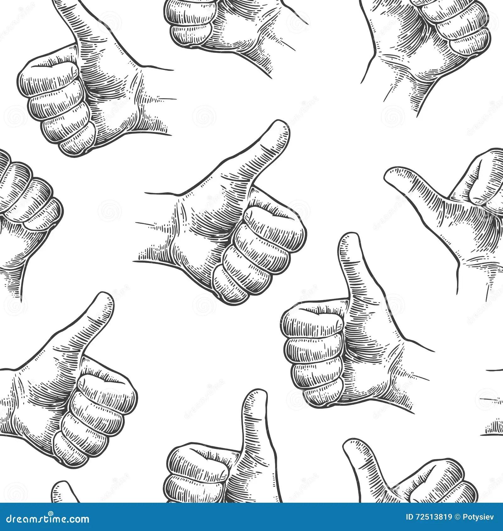 Seamless Pattern Hand Showing Symbol Like Making Thumb Up