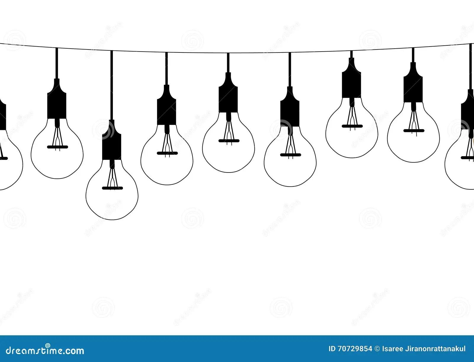 Seamless Pattern Hanging Light Bulbs Vector Illustrations