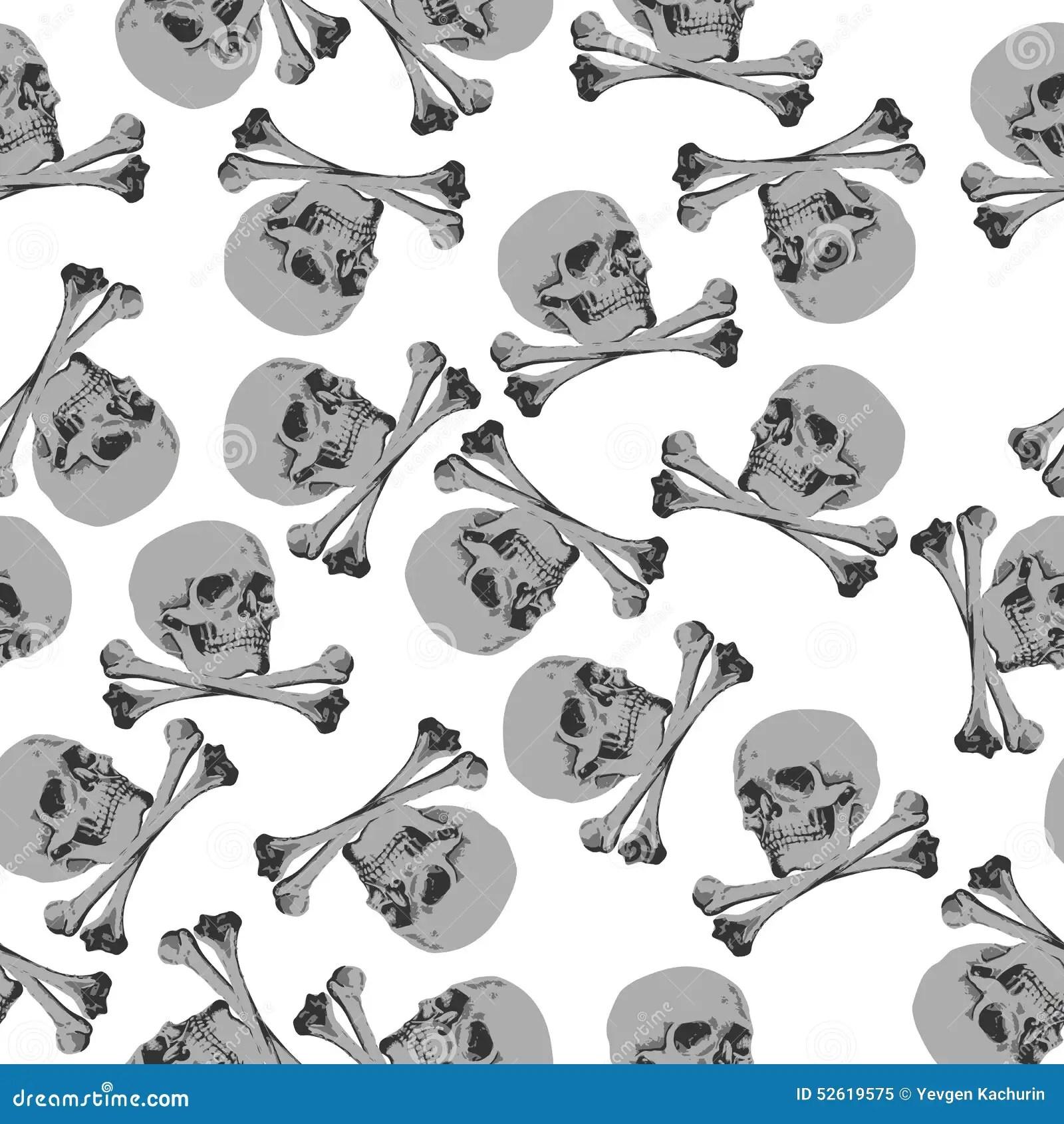 Seamless Pattern Jolly Roger Skull And Crossbones Stock