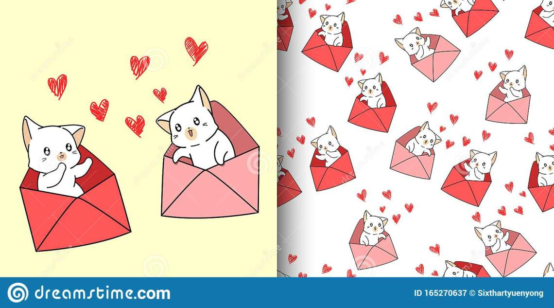 Download Seamless Pattern Kawaii Cat Cartoon Inside A Love Letter ...