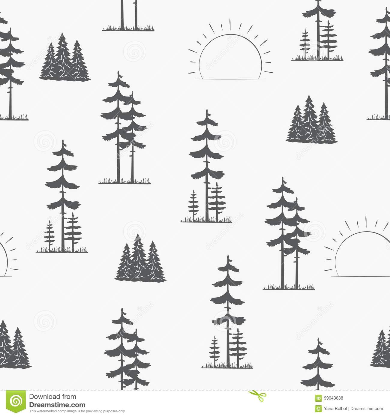 Seamless Pattern Landscape With Pine Trees Stock Vector