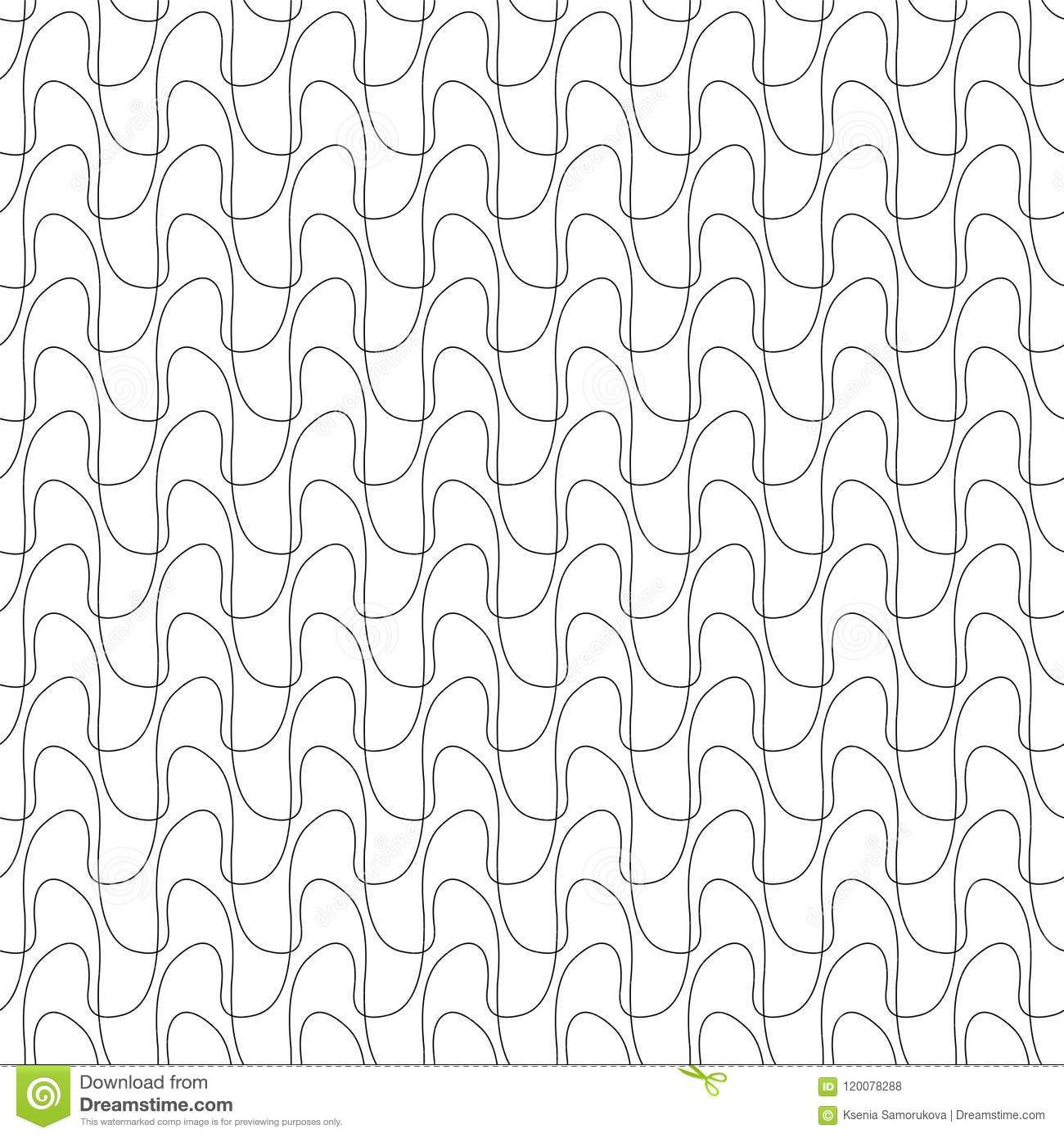 Seamless Pattern Of Linear Waves Stock Vector