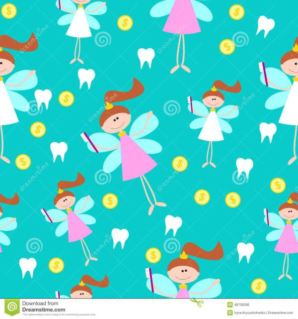 Seamless Pattern With Little Cute Tooth Fairy With Teeth
