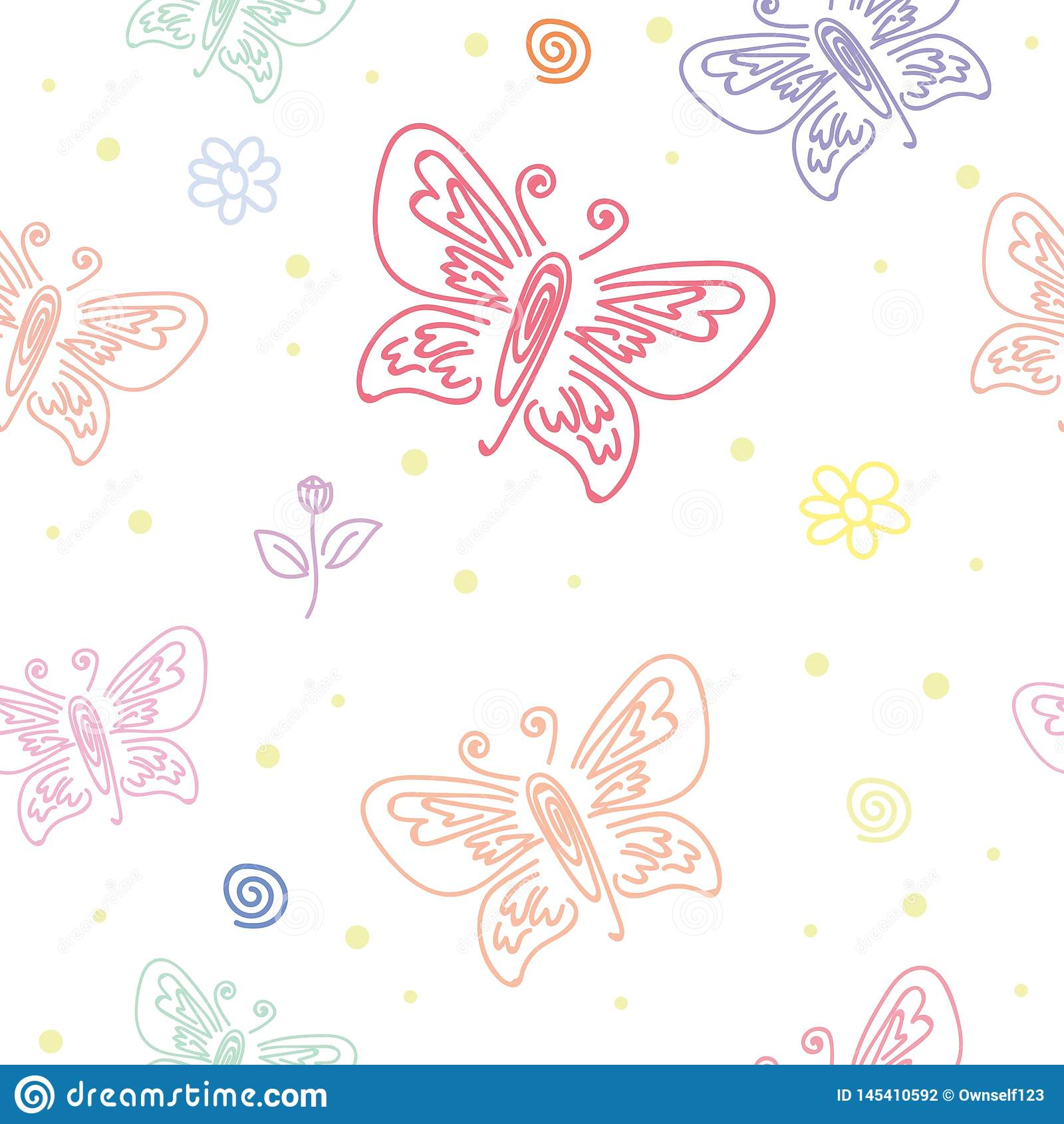 Seamless Pattern With Motifs Of Various Butterflies Butterfly Ornament Seamless Pattern For Wall Art Design Stock Vector Illustration Of Graphic Pink 145410592