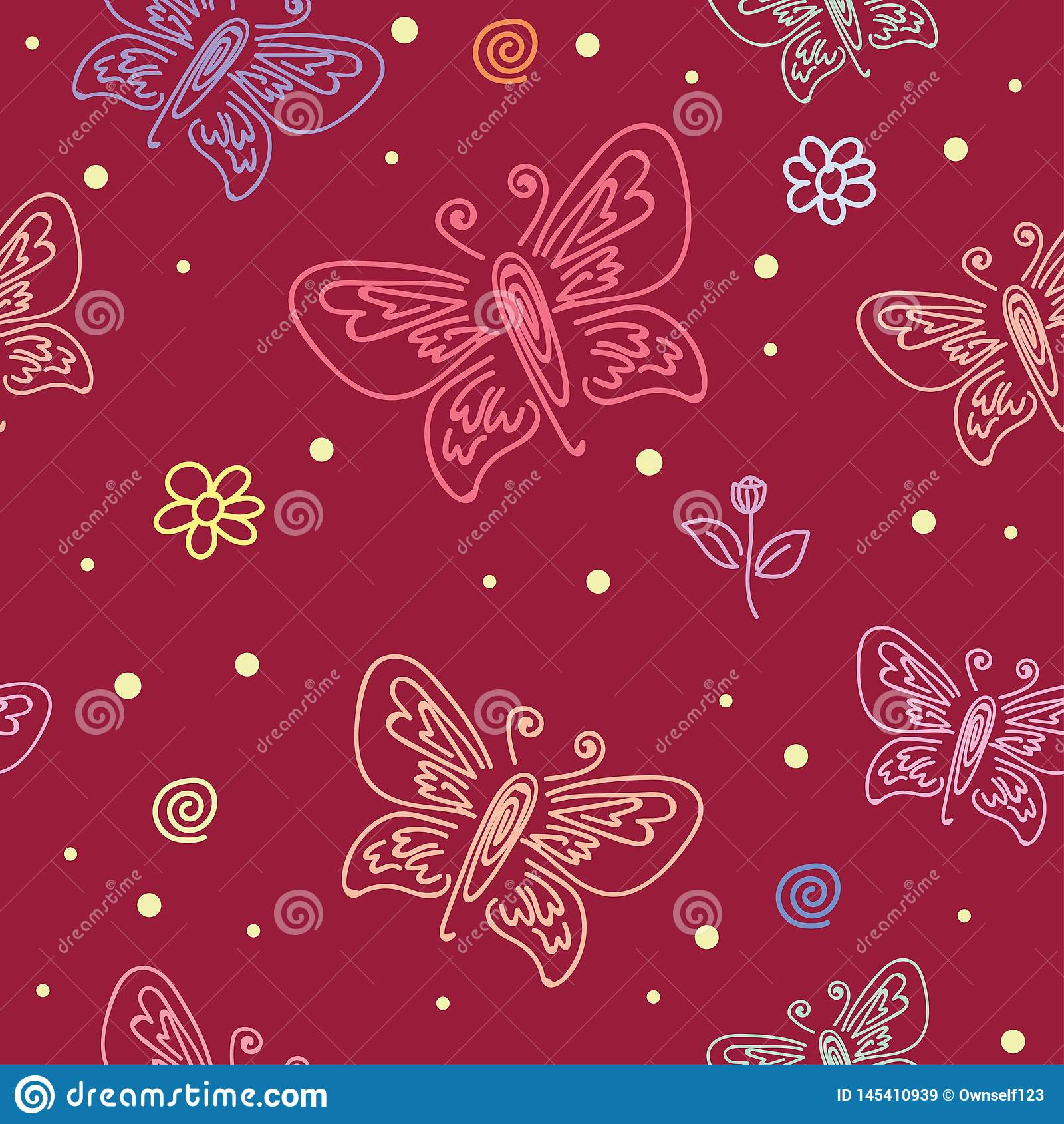 Seamless Pattern With Motifs Of Various Butterflies Butterfly Ornament Seamless Pattern For Wall Art Design Stock Illustration Illustration Of Plant Doodle 145410939
