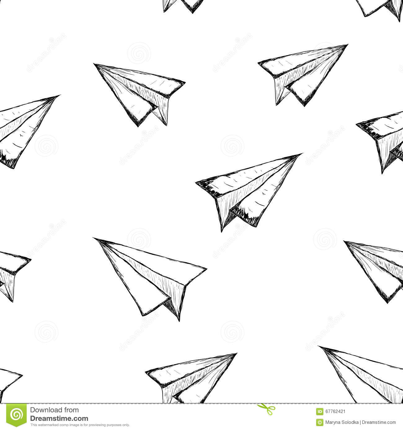 Seamless Pattern With A Paper Airplane Stock Vector