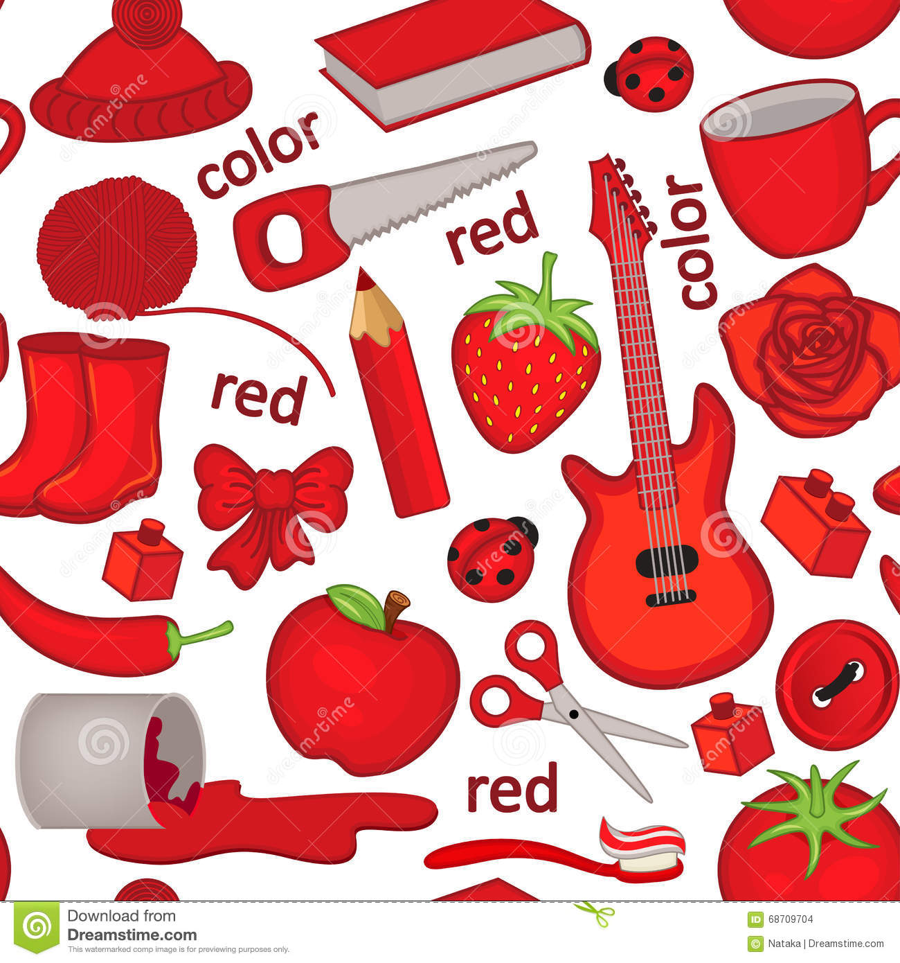 Seamless Pattern With Red Objects Stock Vector
