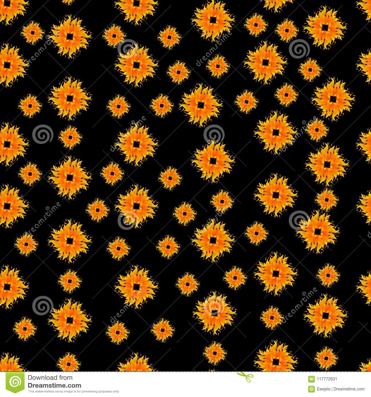 Seamless Pattern With Summer Sun Shapes Vector