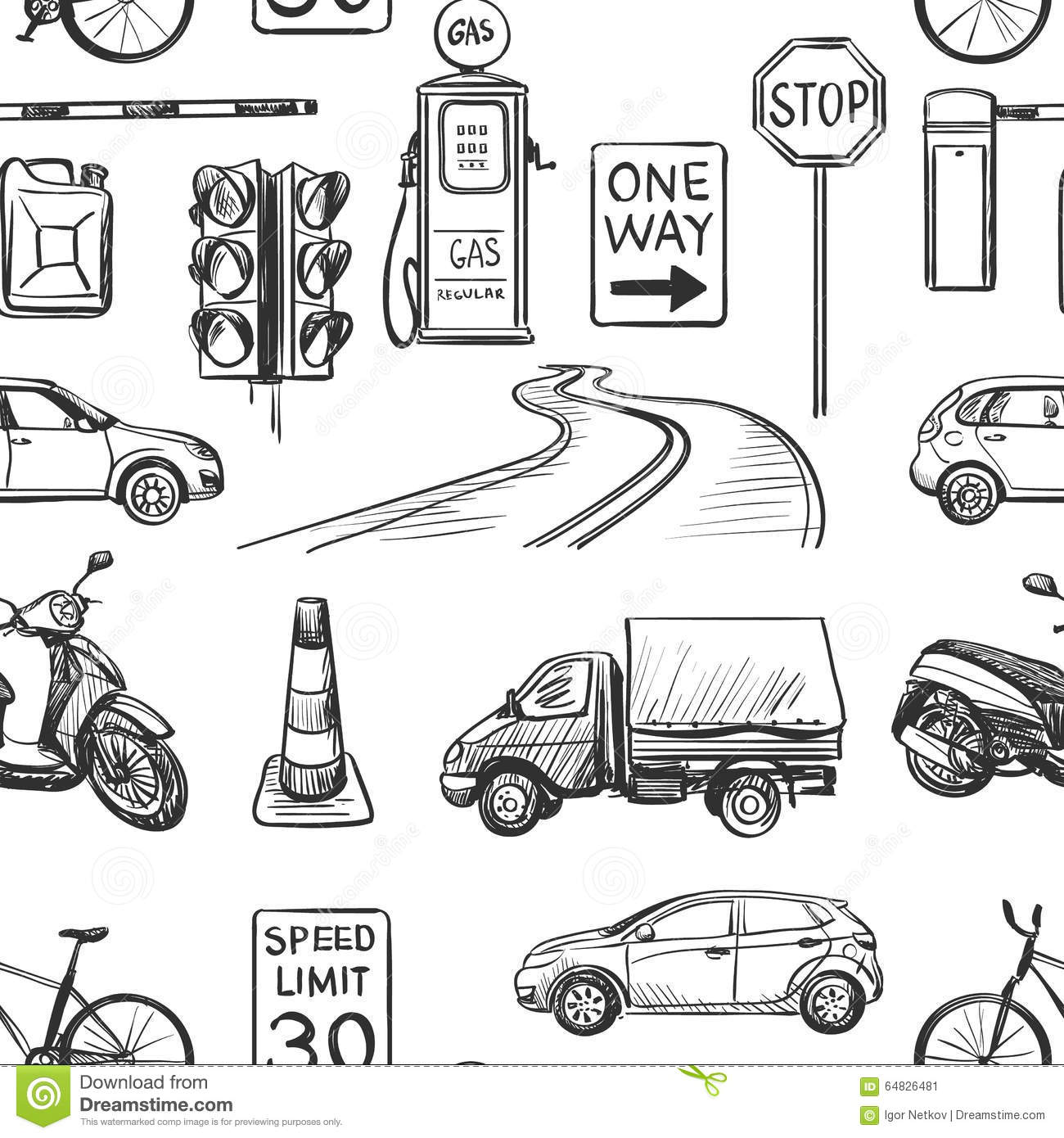 Seamless Pattern Of Traffic Laws Icons Stock Vector