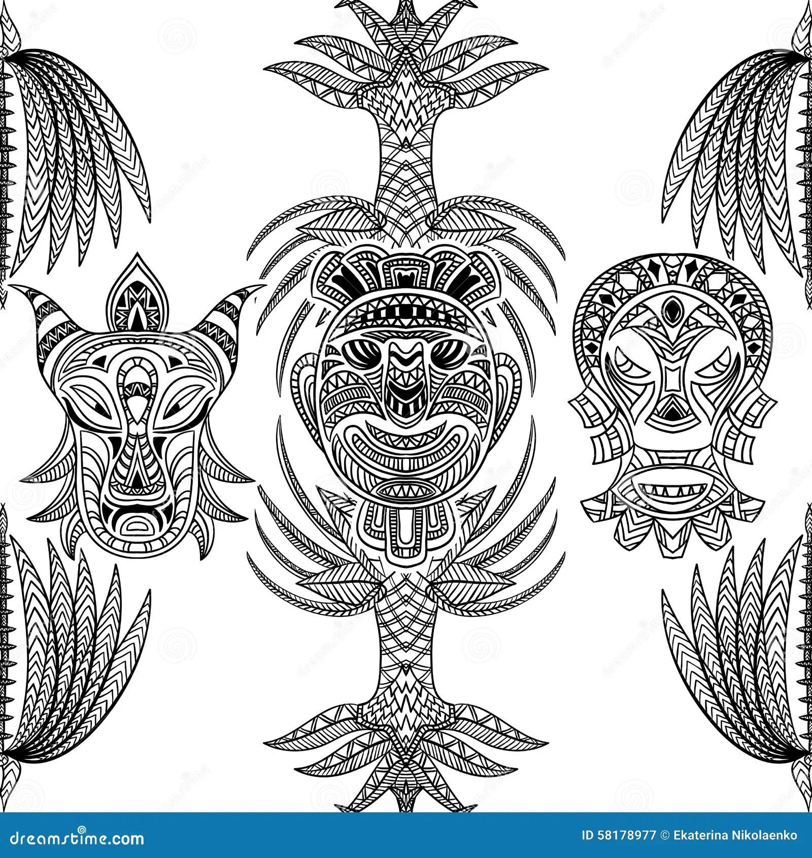 Seamless Tiki Hawaii Pattern Cartoon Vector