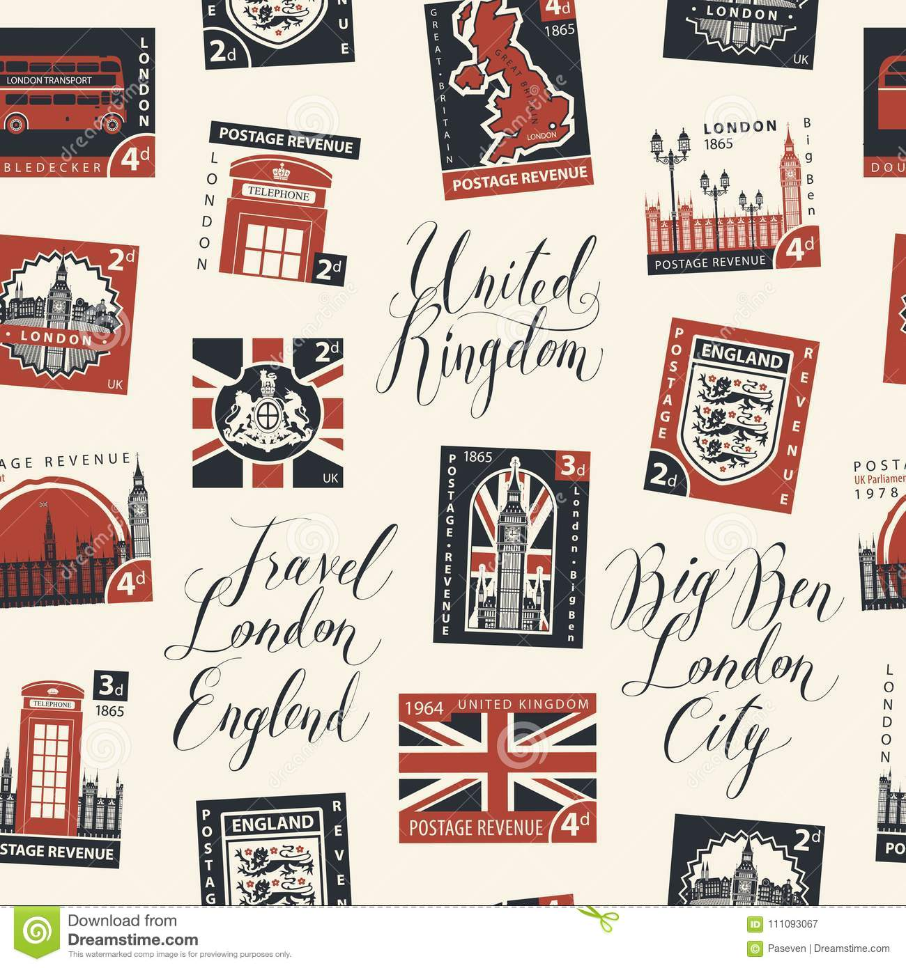 Seamless Pattern On Uk Theme With Postage Stamps Stock