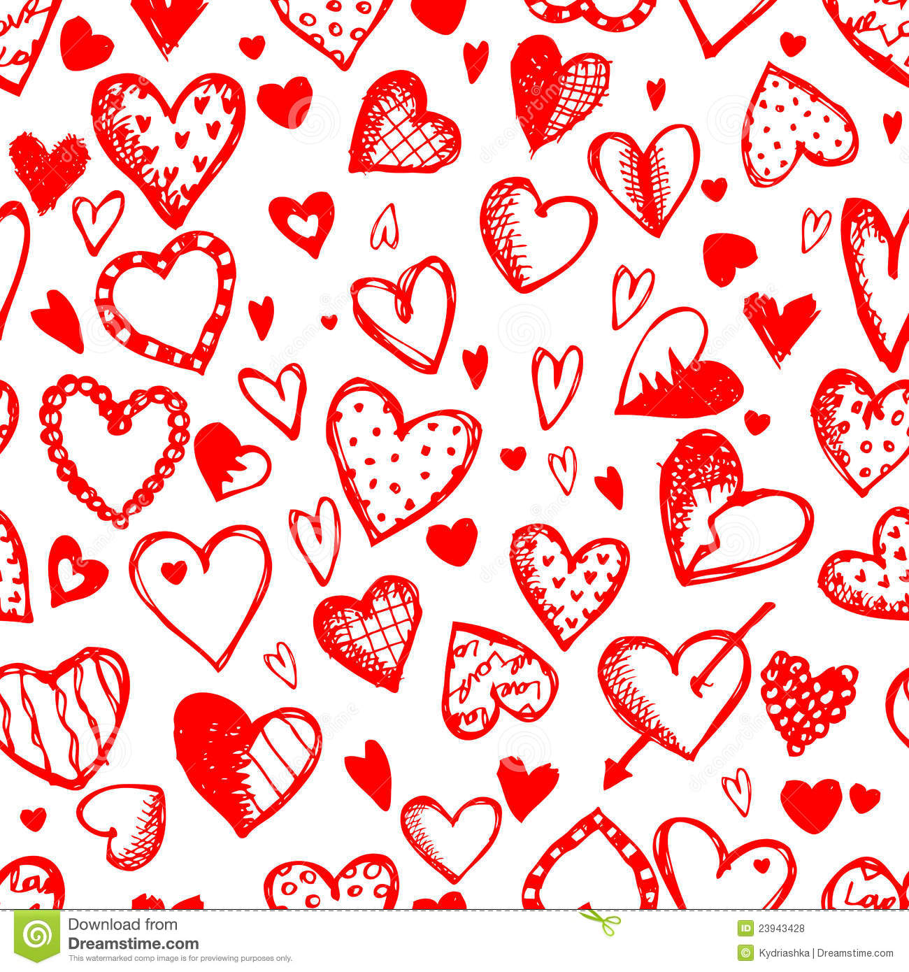Seamless Pattern With Valentine Hearts Stock Vector