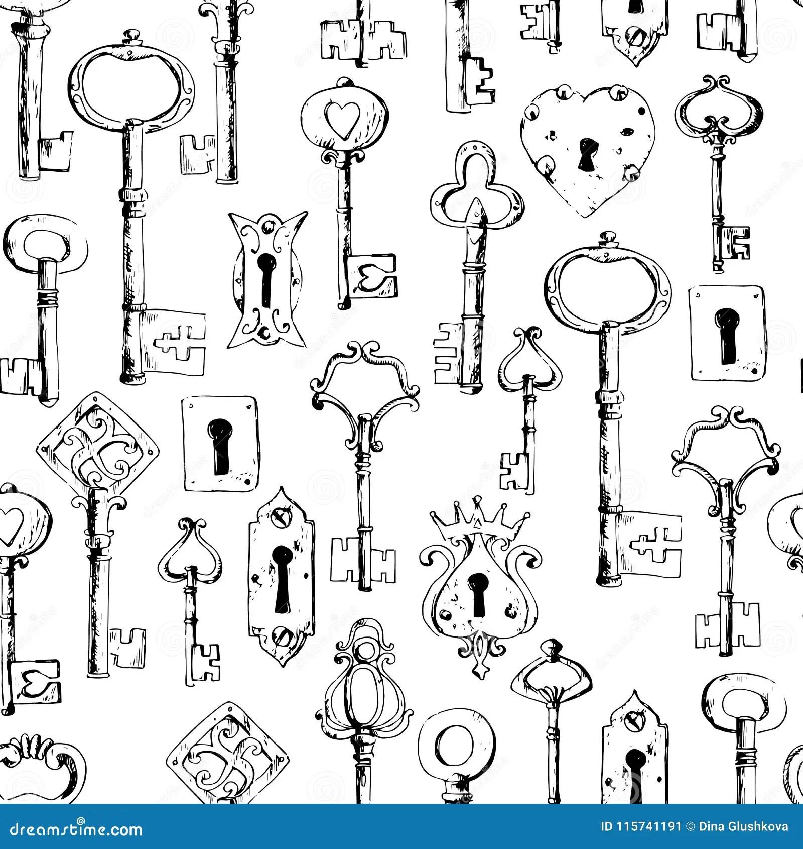 Keys And Keyholes Cartoon Vector