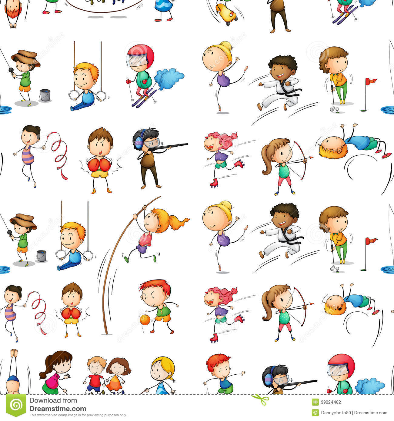 Seamless Of People Doing Activit Stock Vector