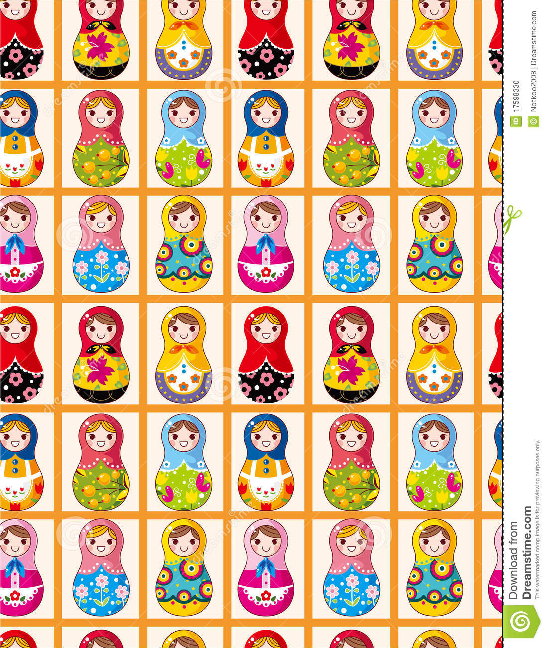 Seamless Russian Dolls Pattern Stock Vector