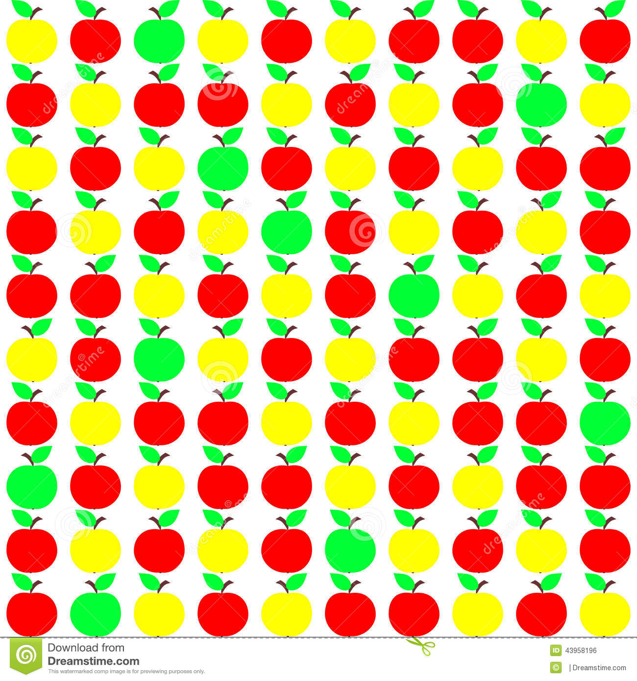 Abstract Seamless Pattern In Yellow Red And Green Colors