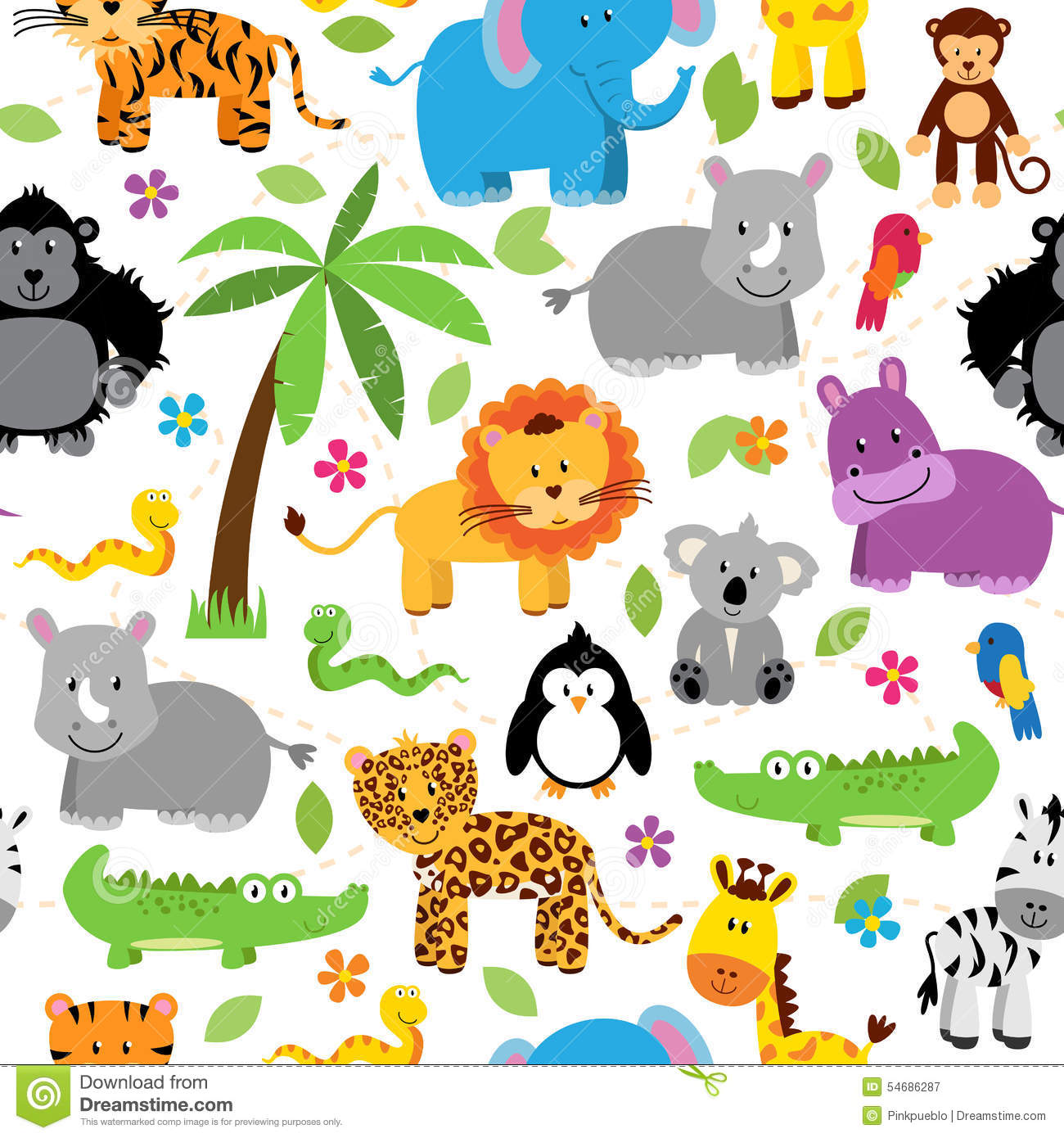 Seamless Tileable Jungle Animal Themed Background