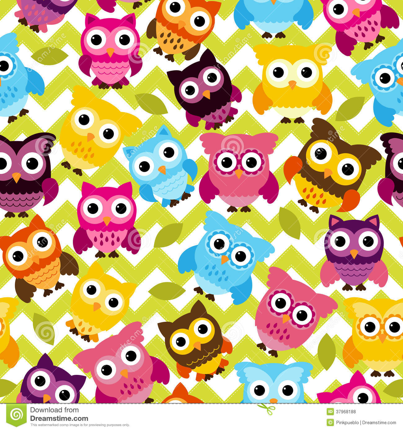 Cute Girly Chevron Wallpapers Seamless And Tileable Vector Owl Background Pattern Stock