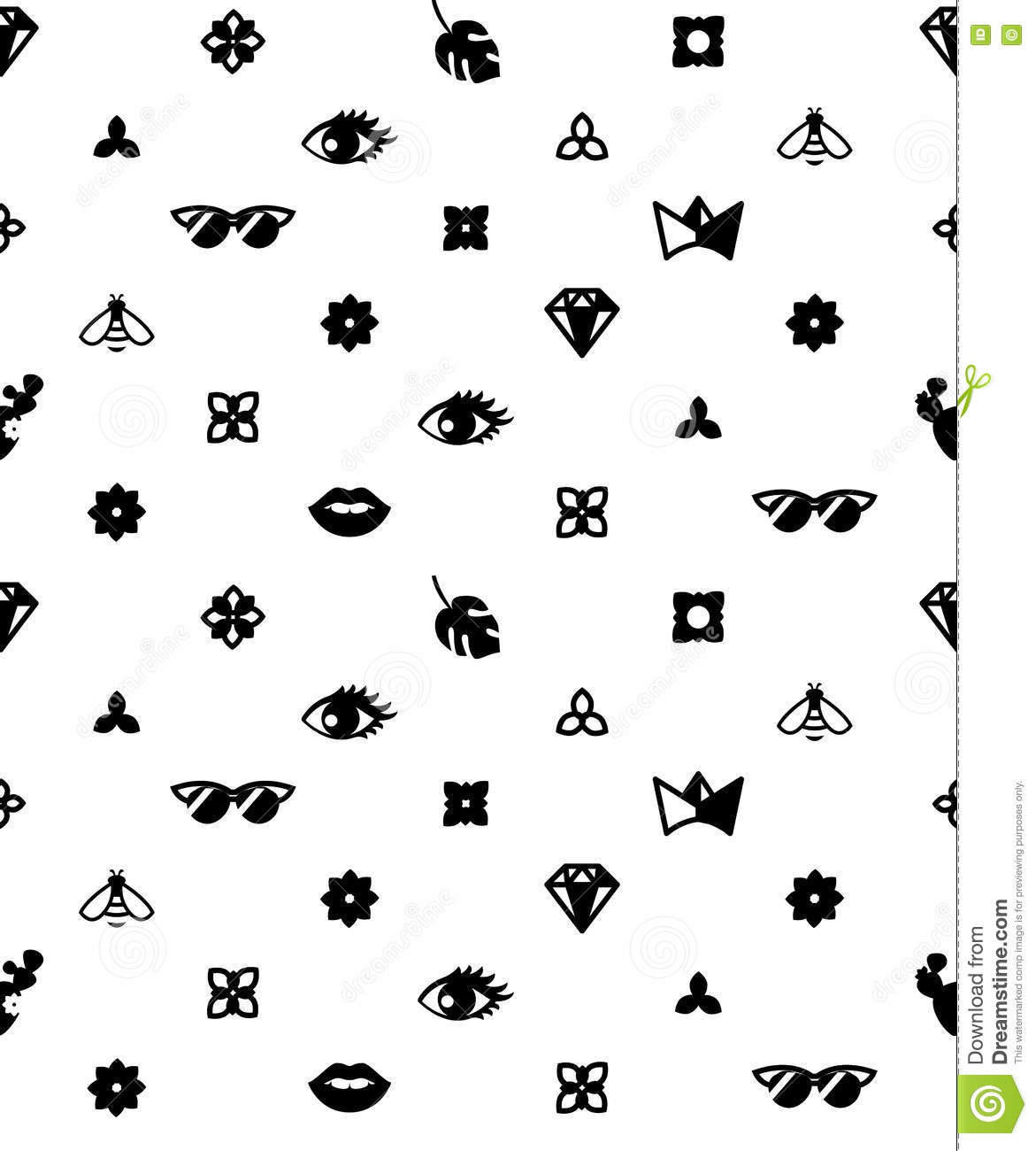 Seamless Trendy Pattern With Fashion Elements. Black And
