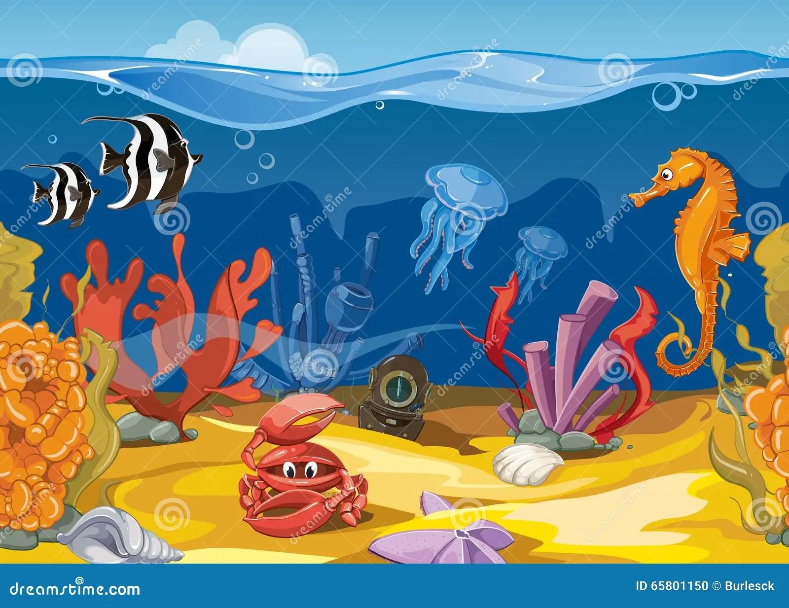 Seamless Underwater Landscape In Cartoon Style Vector