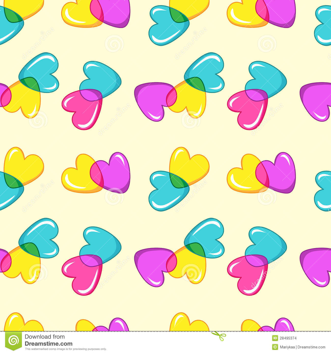 Seamless Vector Pattern With Colorful Candy Hearts Stock