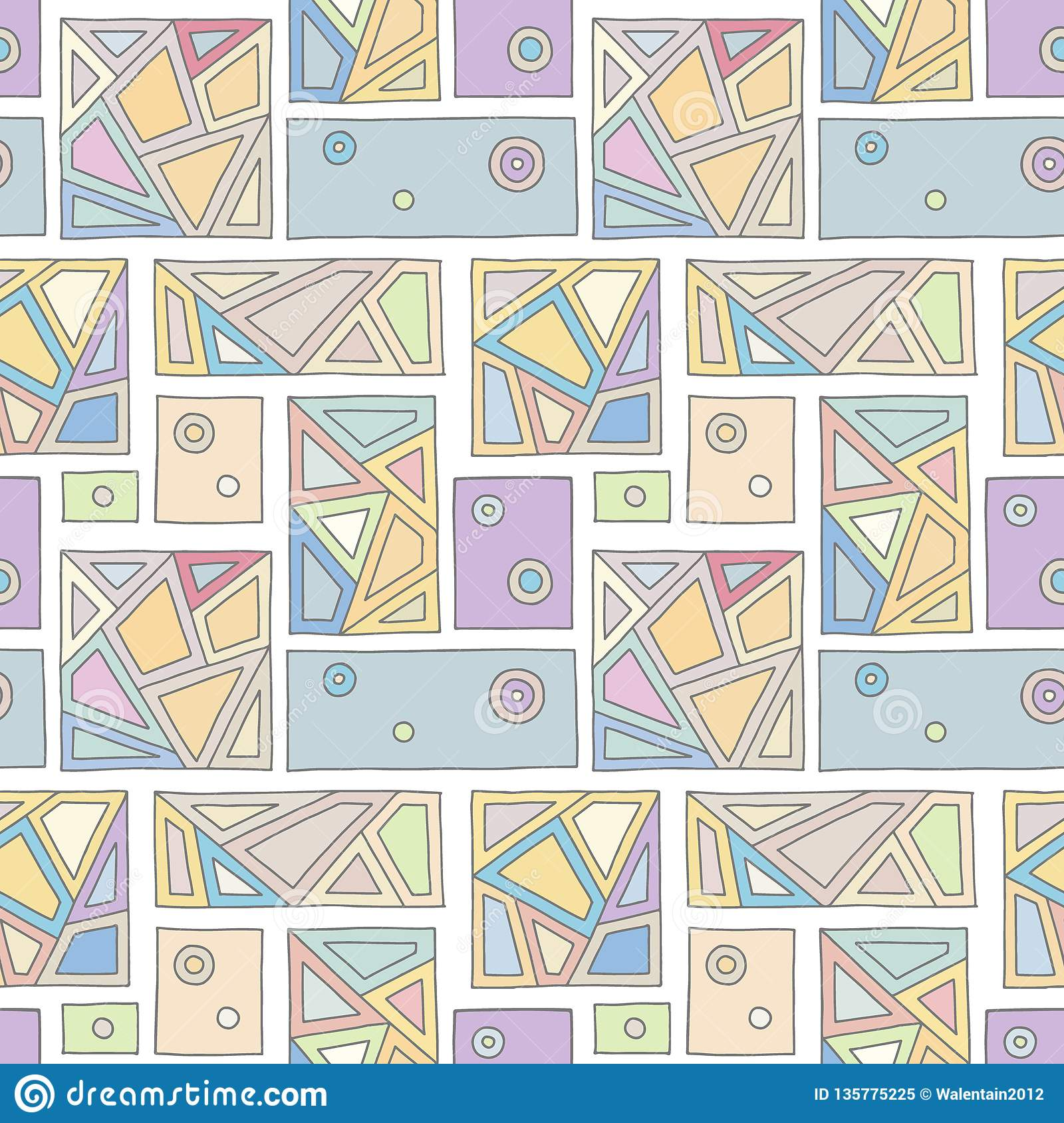 Seamless Vector Pattern Geometrical Hand Drawn Background