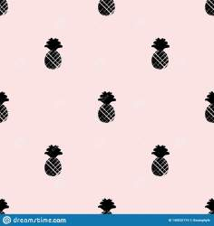 pineapple silhouette vector seamless pattern pink simple