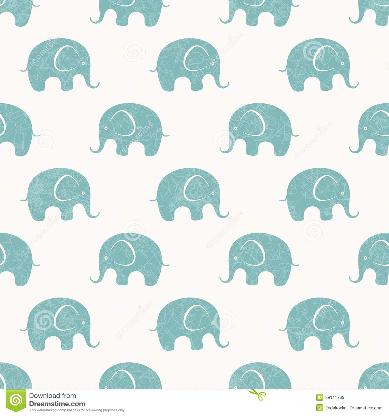 Cute Elephant Cartoon Wallpapers Seamless Vector Print With Cute Little Elephants Stock