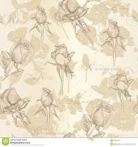 Seamless Vector Wallpaper With Roses In Vintage Style ...