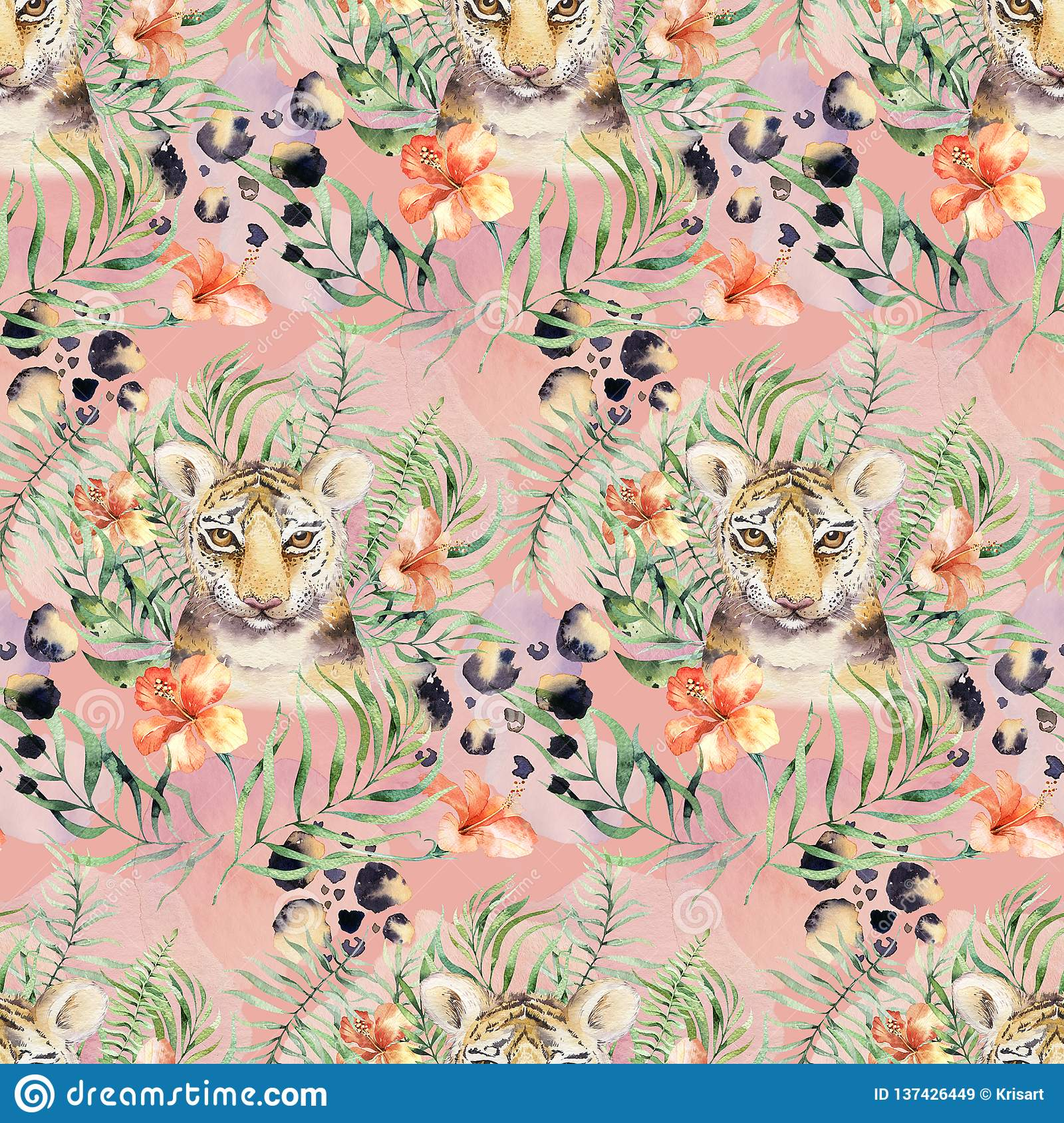Seamless Watercolor Animal Tiger Pattern With Tigers With