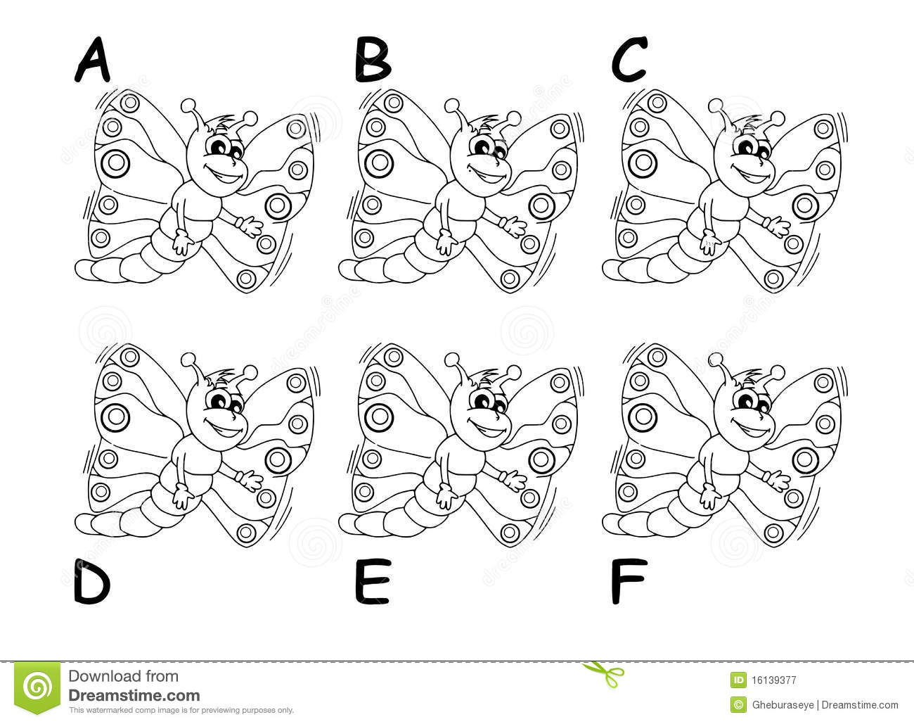 Search The Twins Between Six Cartoon Butterflies Stock