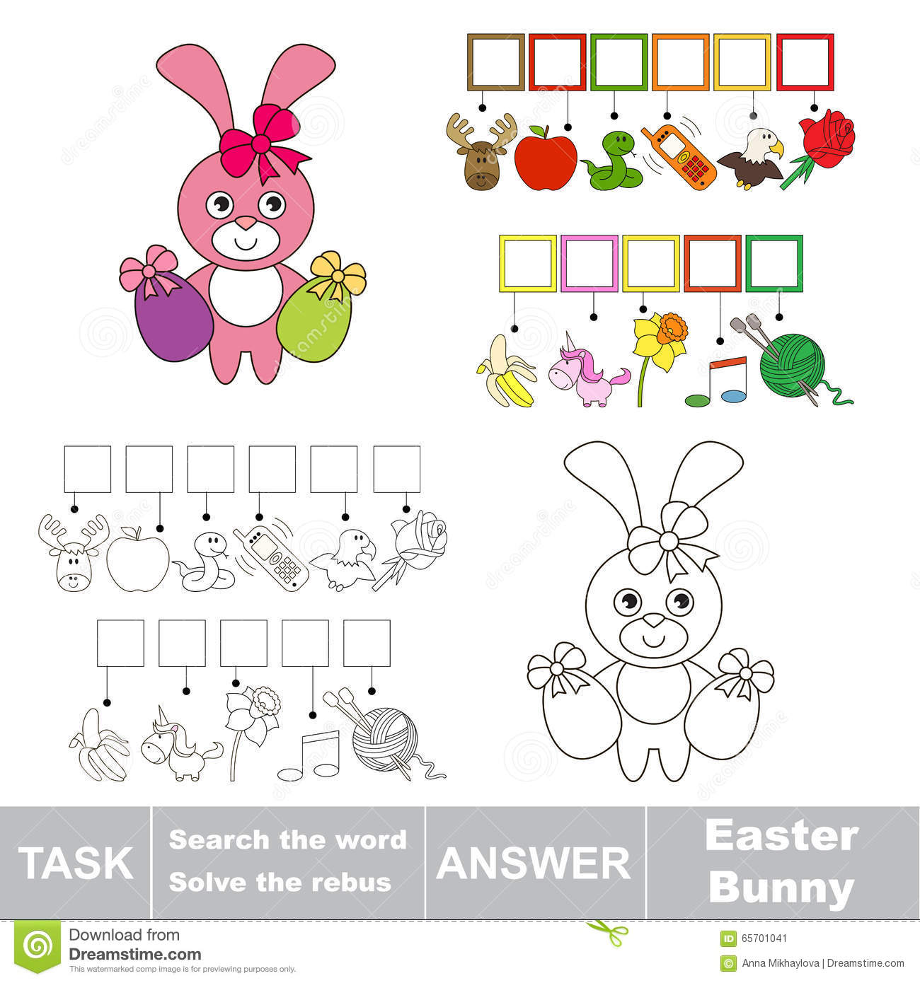 Search The Word Easter Bunny Stock Vector