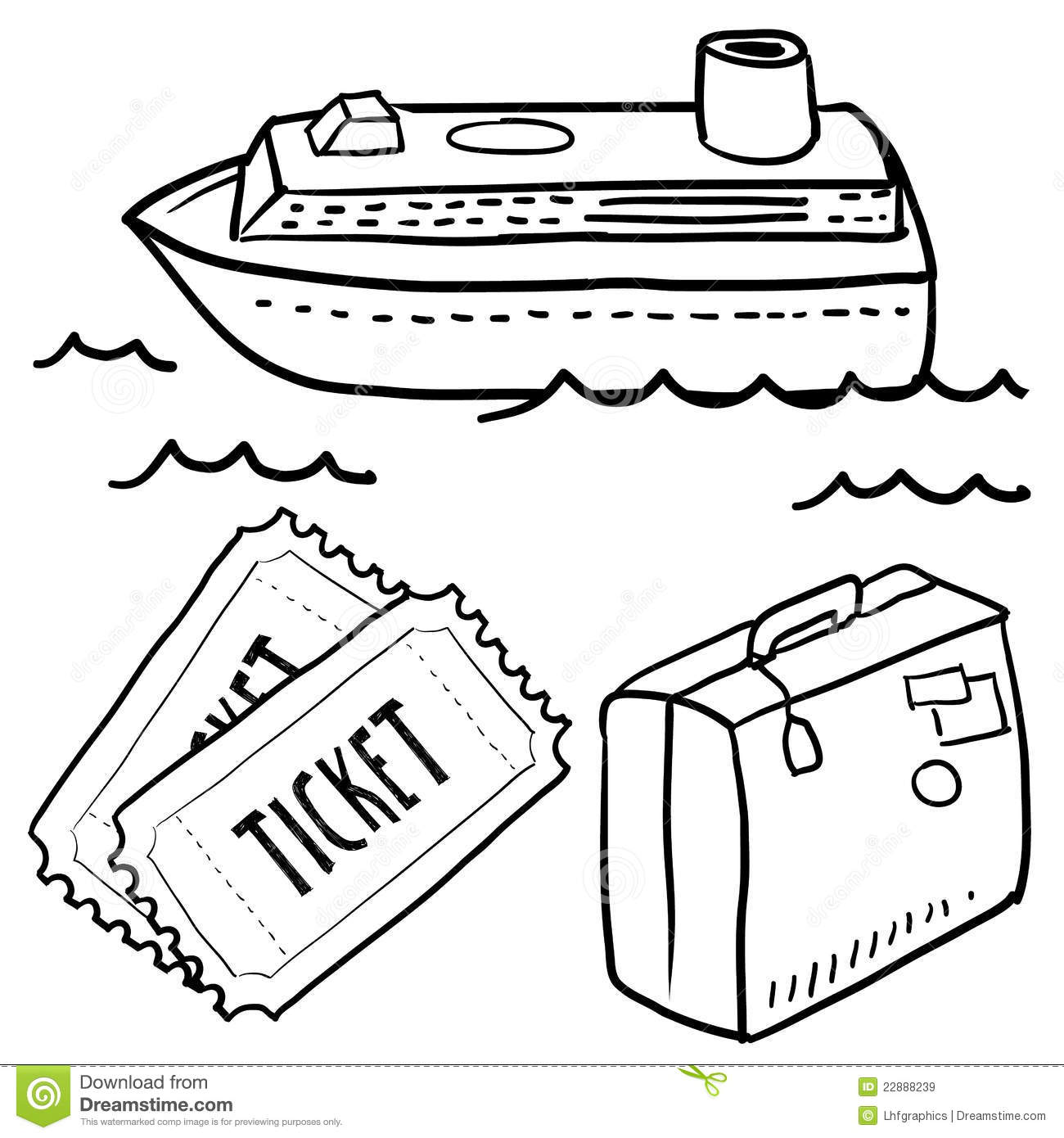 Seas Cruise Objects Sketch Stock Illustration