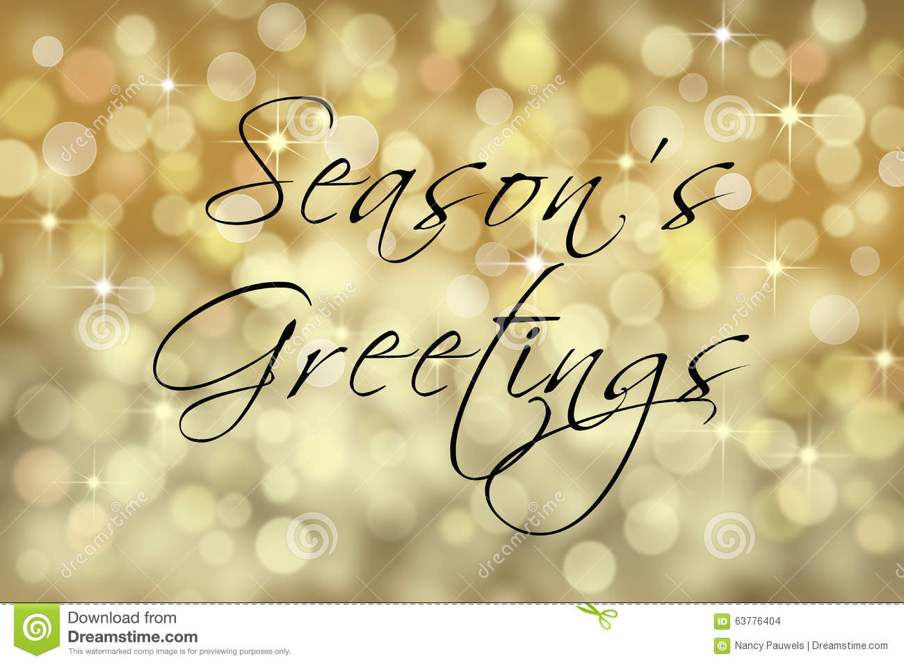 Seasons Greetings Text Card With Bokeh Background Stock