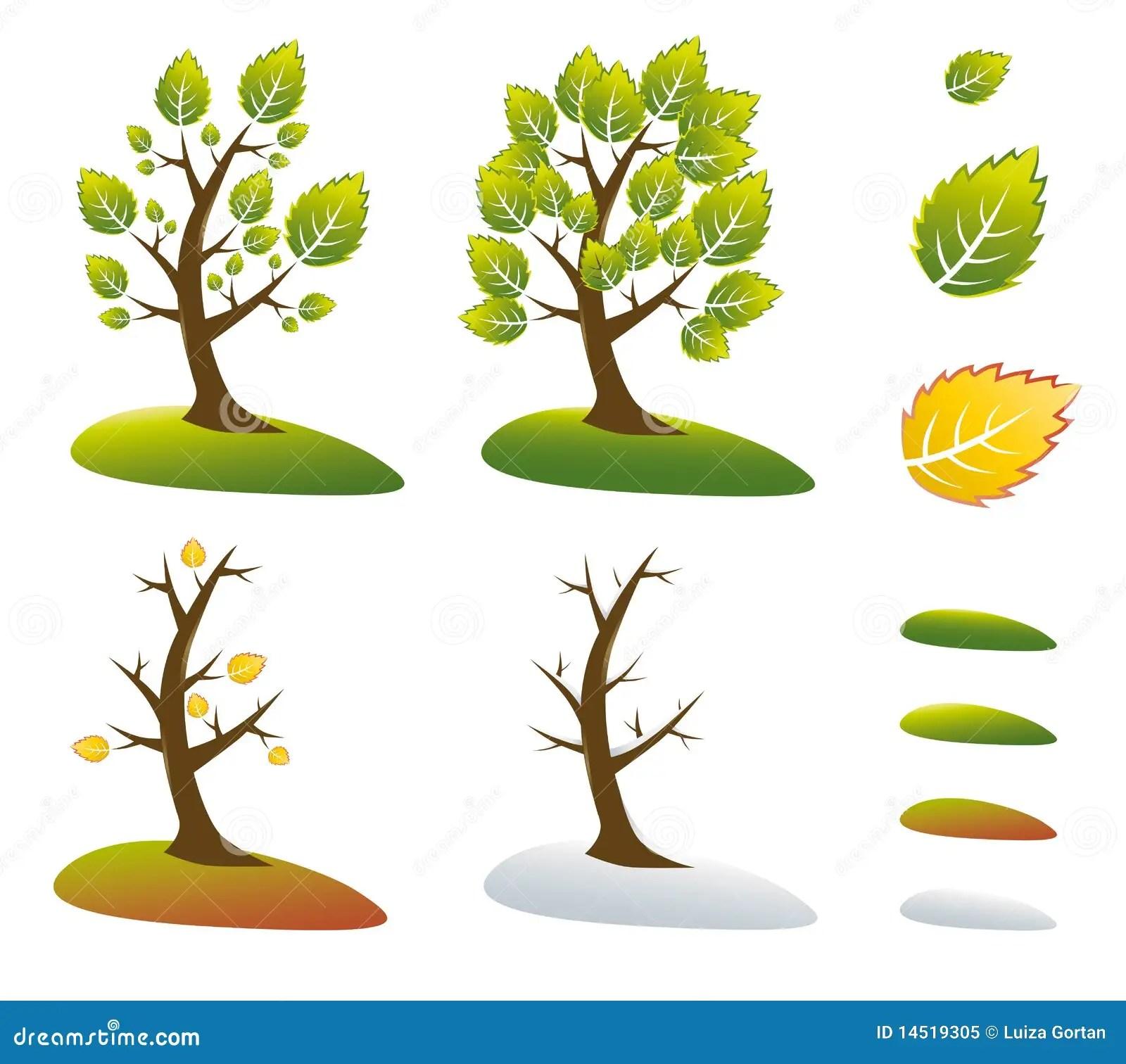 Season Tree Symbols Vector Illustration Stock Vector
