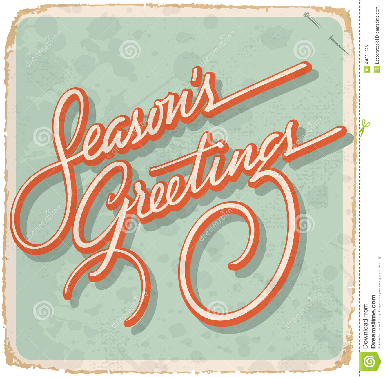 SEASONS GREETINGS Vintage Card Vector Stock Vector