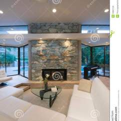 Modern Contemporary Living Room Pictures Open Plan Kitchen Flooring Ideas Seating Area And Stone Fireplace Royalty Free Stock Image ...