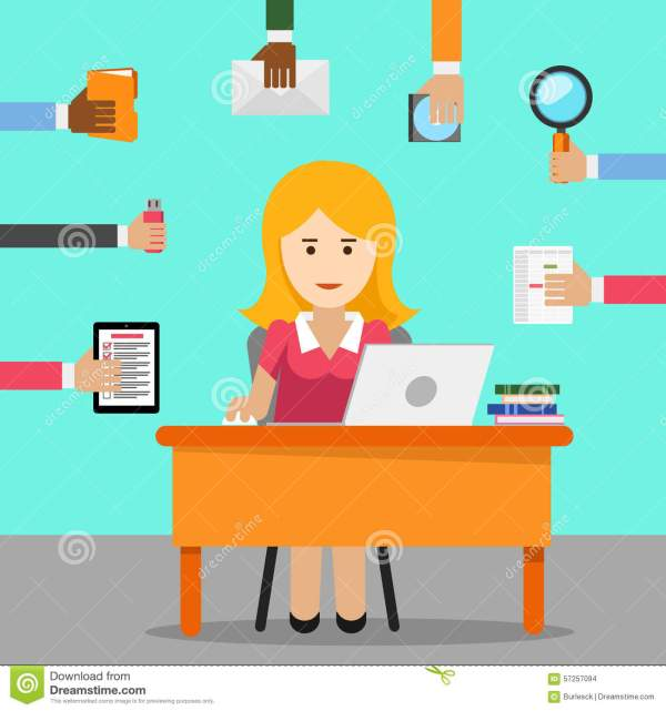 secretary. busy woman office